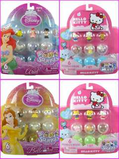 6PC Cute!! SQUINKIES Disney Princess Ariel Belle Cinderella Hello