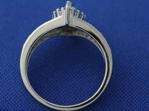 14k White Gold 1.0ct Marquise & Round Diamond Halo Ring size 7