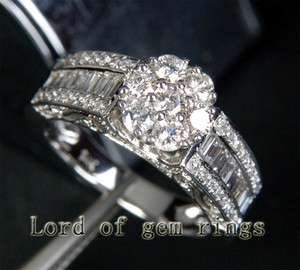 Cluster 1.59ct DIAMOND Solid 14K WHITE GOLD Channel ENGAGEMENT WEDDING