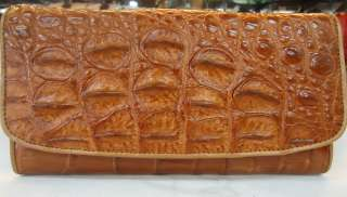GENUINE CROCODILE LEATHER CLUTCH BROWN PURSE WALLET