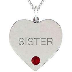 10k Gold January Birthstone Garnet SISTER Heart Necklace