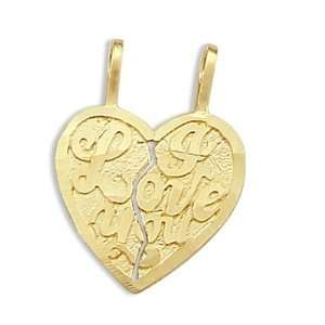 Breakable Charm 14k Yellow Gold Two Heart Pendant Jewel Roses