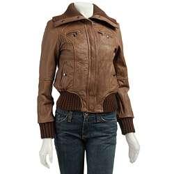 MICHAEL Michael Kors Womens Leather Bomber Jacket