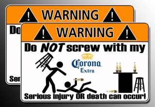 Funny Corona Warning Sticker bar beer decal