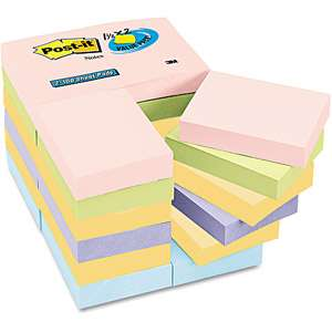 Post it Notes Value Pack, 1 1/2 x 2, Assorted Pastel
