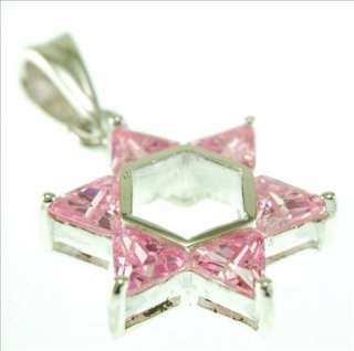 STERLING SILVER MEDIUM STAR DAVID PENDANT PINK COLOR CZ
