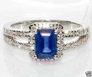 Emerald Cut Blue Sapphire & Diamond Ring 18K White Gold