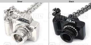 Cute Lovely Black Silver Camera with Crystal Rhinestone Pendant Long