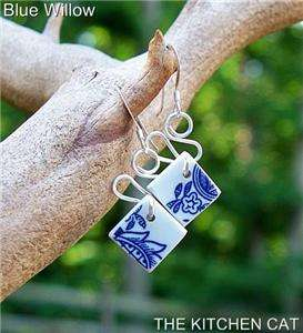 VINTAGE CHINA EARRINGS Antique Dangle w Sterling Silver