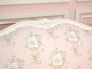 Shabby Cottage Chic White Pink Brown Toile Angel Cherub Sofa Couch
