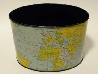 Era Tin Litho Oval World Map Globe Atlas Desk Pencil Organizer