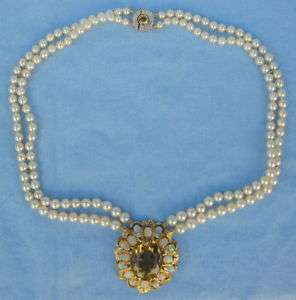 14k Gold Citrine Opal, Diamond & Pearl Pendant Necklace