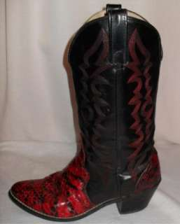 Vintage KENNY ROGERS Red & Black SNAKESKIN Western Cowboy BOOTS USA