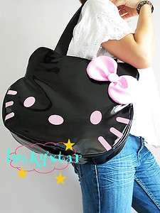 Hello Kitty black color with pink bow tote bag handbag purse