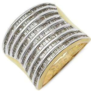 1.55 Carat 14K Gold Plated Genuine Diamond Accents