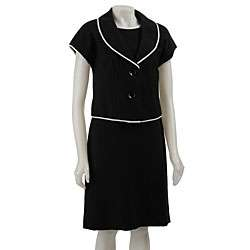 Larry Levine Womens Black/ Ivory Dress Suit