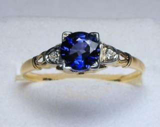 ANTIQUE ART DECO INTENSE SPARKLING BLUE GENUINE SAPPHIRE/DIAMOND SOLID
