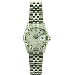 Pre owned Rolex Datejust Mens White Gold Bezel Florentine Watch
