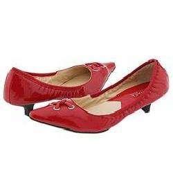 MICHAEL Michael Kors Astor Grommet Kitten Red Patent Pumps/Heels
