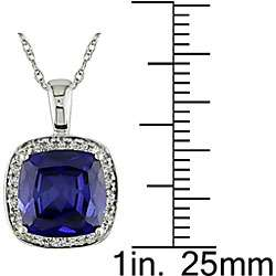 Gold Created Sapphire and 1/10ct TDW Diamond Necklace