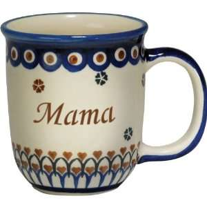 New Polish Pottery 12oz Mug   MAMA, MOM Patio, Lawn & Garden