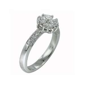 0.90 ct Heart & Round Diamond Cocktail Ring 18k White Gold