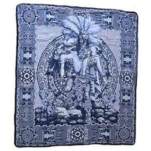 Aztec Sacrifice Mexican Blanket throw rug tapestry