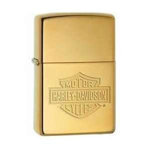 New   Zippo Harley Davidson Bar & Shield High Polish Brass Lighter