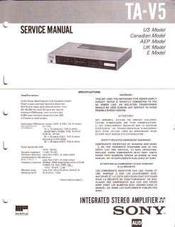 SONY ORIGINAL Service Manual TA V5 FREE USA SHIPPING