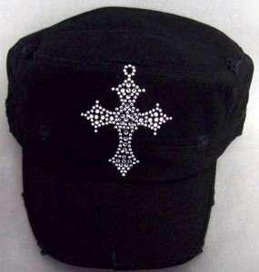 DESIGNER CROSS BLING RHINESTONES BDU PUNK FLAT HAT CAP