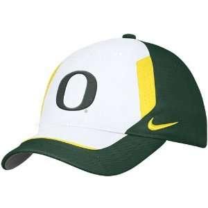 Nike Oregon Ducks White Coaches Swoosh Flex Fit Adjustable