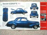 1940 CHEVROLET chevy HOT ROD COUPE SPEC SHEET/Brochure