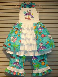 OOAK Custom Boutique Design Dress & Pants Set 6 7 8 HELLO KITTY