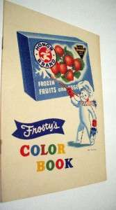 Vintage 1949 Honor Brand Frostys Color Book~Unused