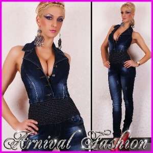 NEW SEXY WOMENS JEANS OVERALL LONG JUMPSUIT LADIES DESIGNER DENIM WEAR