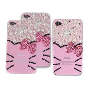 3d Crystal& Pearl Hello Kitty Pattern Case for Iphone 4&4s Pink
