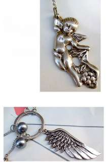 Heart Silver Angel Wing Key Necklace 9x3 cm  3.54 x 1.18 in