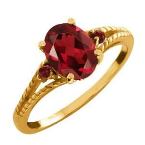 07 Ct Genuine Oval Red Garnet Gemstone 14k Yellow Gold Ring Jewelry