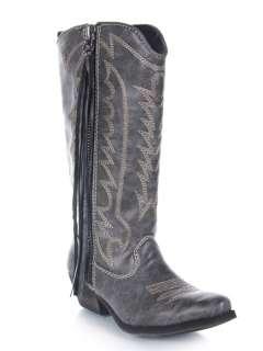 Women Western Cowboy Mid Calf Distress Boot black sz Smoke