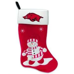 24 NCAA Arkansas Razorbacks Snowman College Logo Christmas Stocking