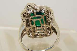 500 12.73CT EMERALD CUT EMERALD,WHITE TOPAZ & DIAMOND RING SIZE 10