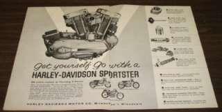 1962 Harley Davidson Sportster XLH XLCH & XLR TT Motorcycle Original