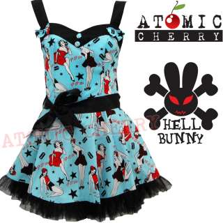 Bunny Dixie Mini Dress Rockabilly Pin Up Girls 50s Retro Cute