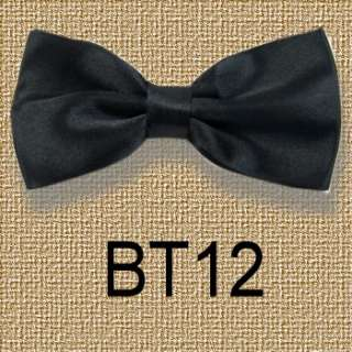 New Mens Solid Bowtie Pre tied Wedding satin bow tie