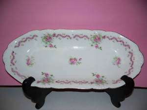 VERY OLD RELISH TRAY LARGE HAND PAINTED PINK ROSES