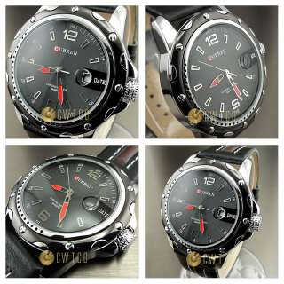 HOURS HAND DATE WATER BLACK BROWN LEATHER MEN WRIST WATCH WP136