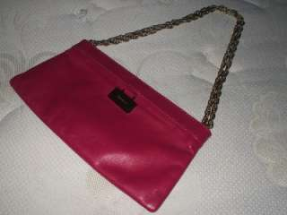KATE SPADE PINK MAGENTA LEATHER CHAIN CLUTCH PURSE BAG