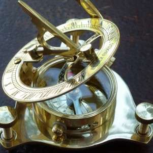Nautical Marine Brass Compass Steampunk Victorian Pirate Sundial Clock