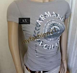 NWT Armani Exchange A/X AX WOMEN logo T Shirts top Gray Grey XS S M L