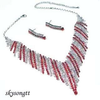 Swarovski Crystal Ruby Red Pendant Necklace Set S1122R